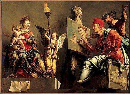 Maarten van Heemskerck - Sint Lucas die de Madonna schildert