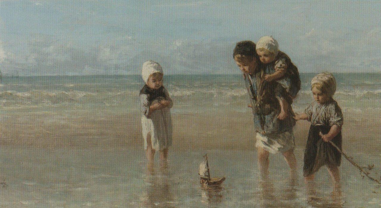 Joseph Israëls, 'Kinderen aan zee', olieverf/doek, 1872, Rijksmuseum.