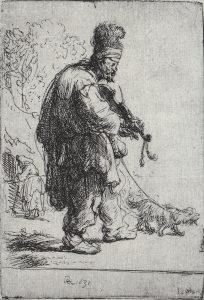 Rembrandt, 'Bedelaar met viool', ets (80 x 55 mm), 1631.
