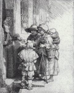 Afbeelding 3. Rembrandt, 'Bedelende familie', ets (165 x 130 mm), 1648.
