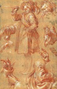 Abraham Bloemaert, 'Studies van een staande trompetter, handen en armen' (1624-1626).