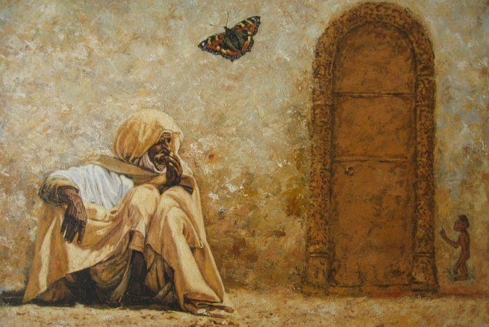 152. Egypte, zittende man met vlinder en aapje met poort